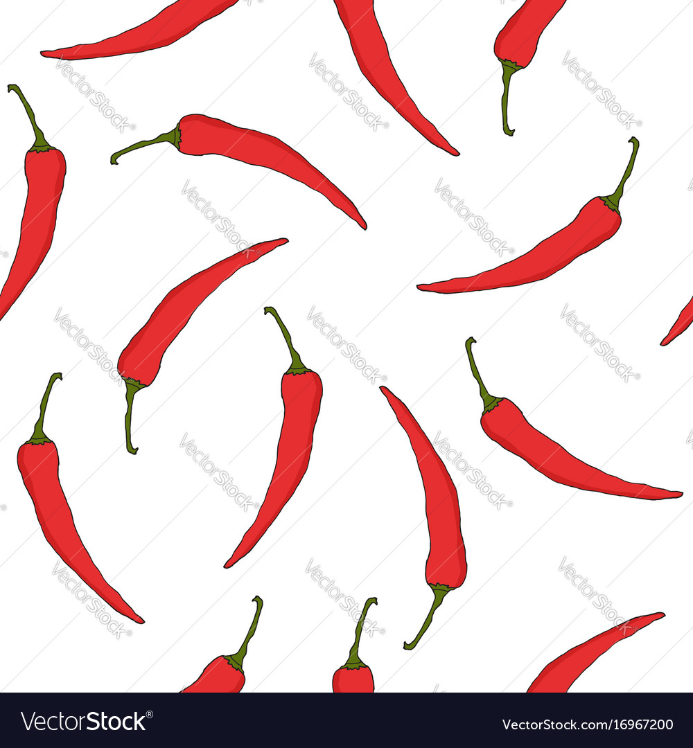 Seamless pattern with red hot chili peppers