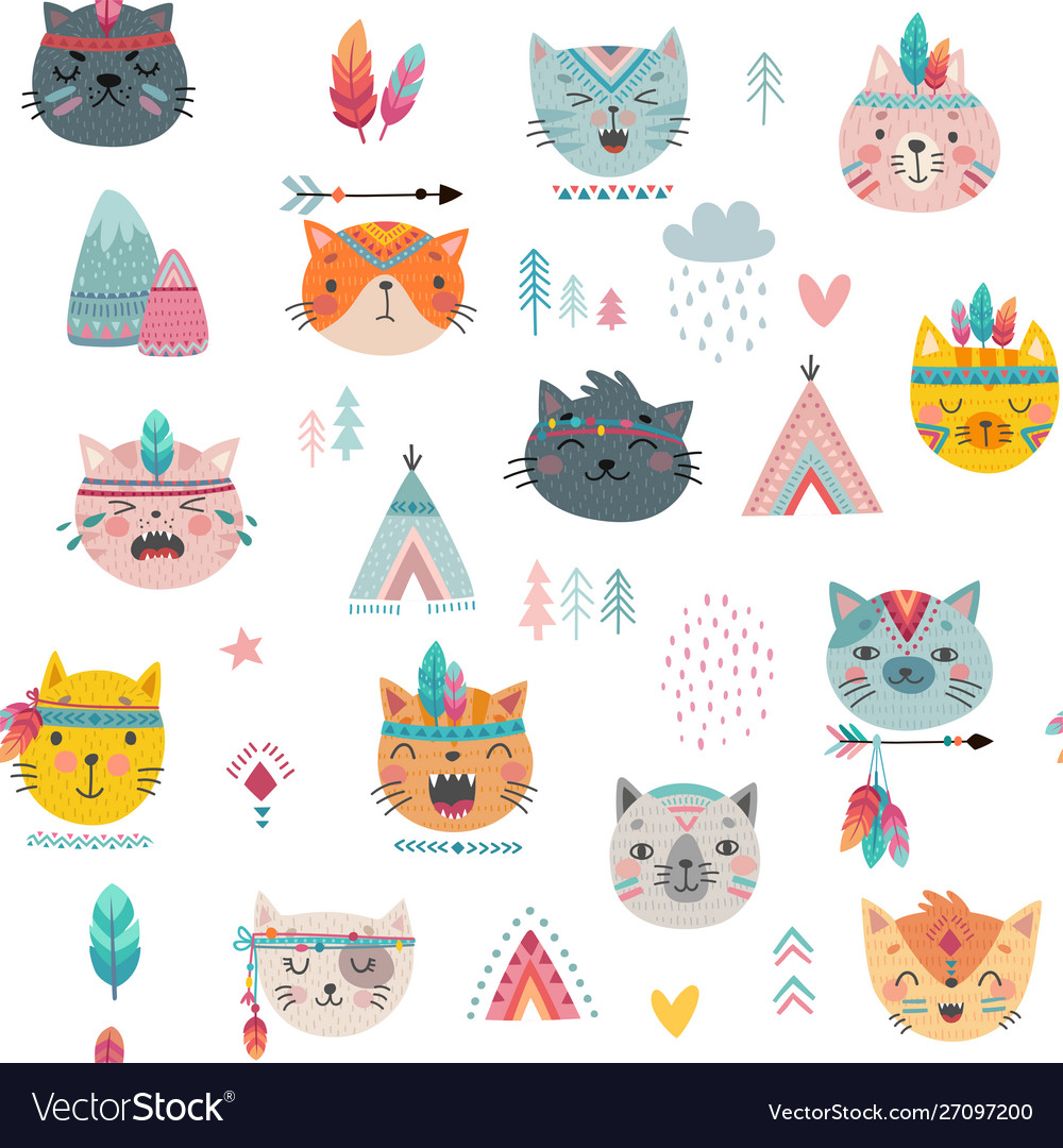 Seamless pattern with tribal boho cats hand drawn