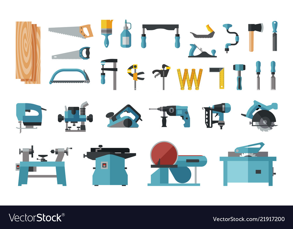 Set of carpentry tools big flat icon collection
