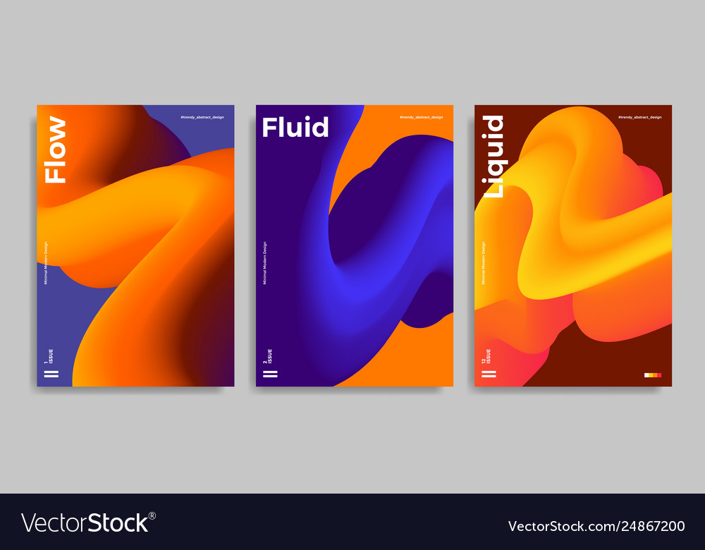 Trendy design templates with 3d flow shapes