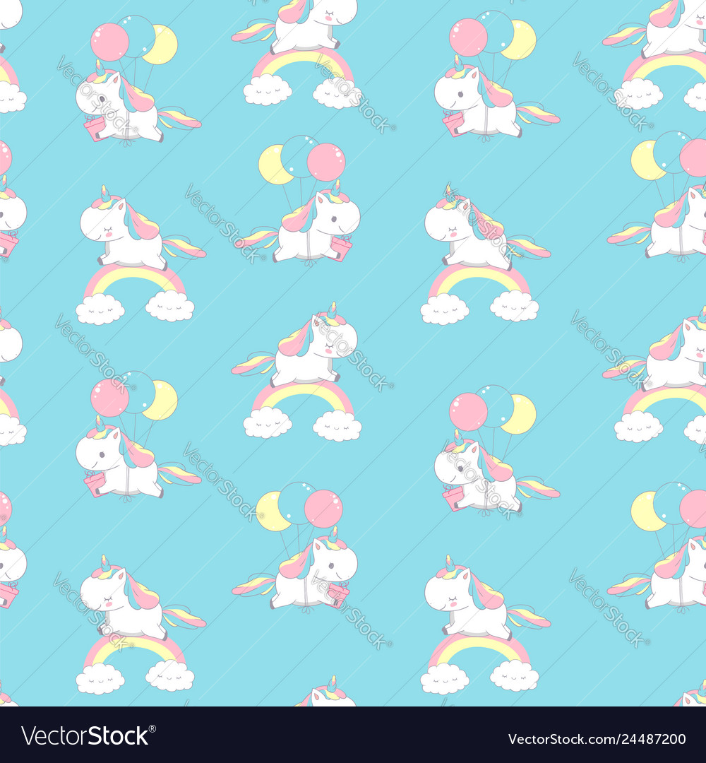Unicorn on rainbow universe seamless pattern