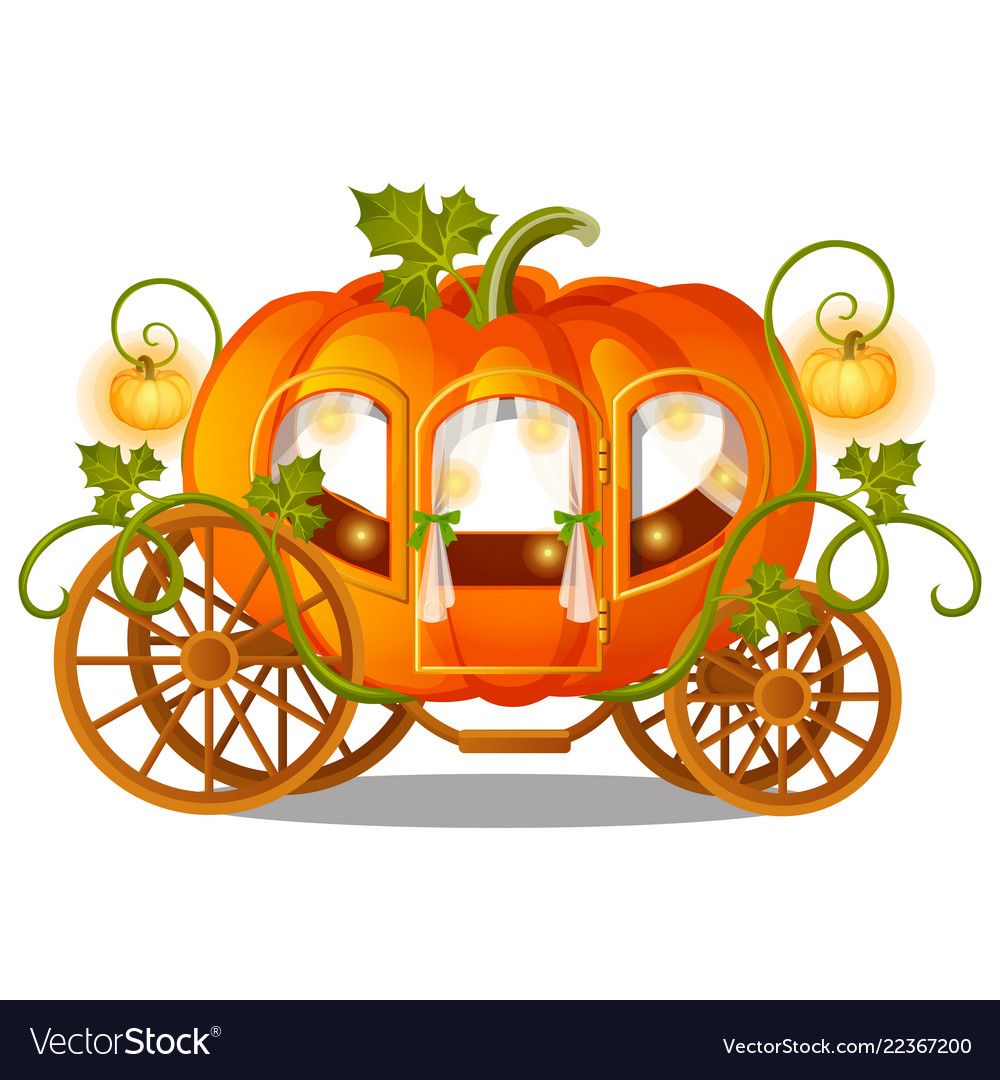 Vintage horse carriage of pumpkin with florid