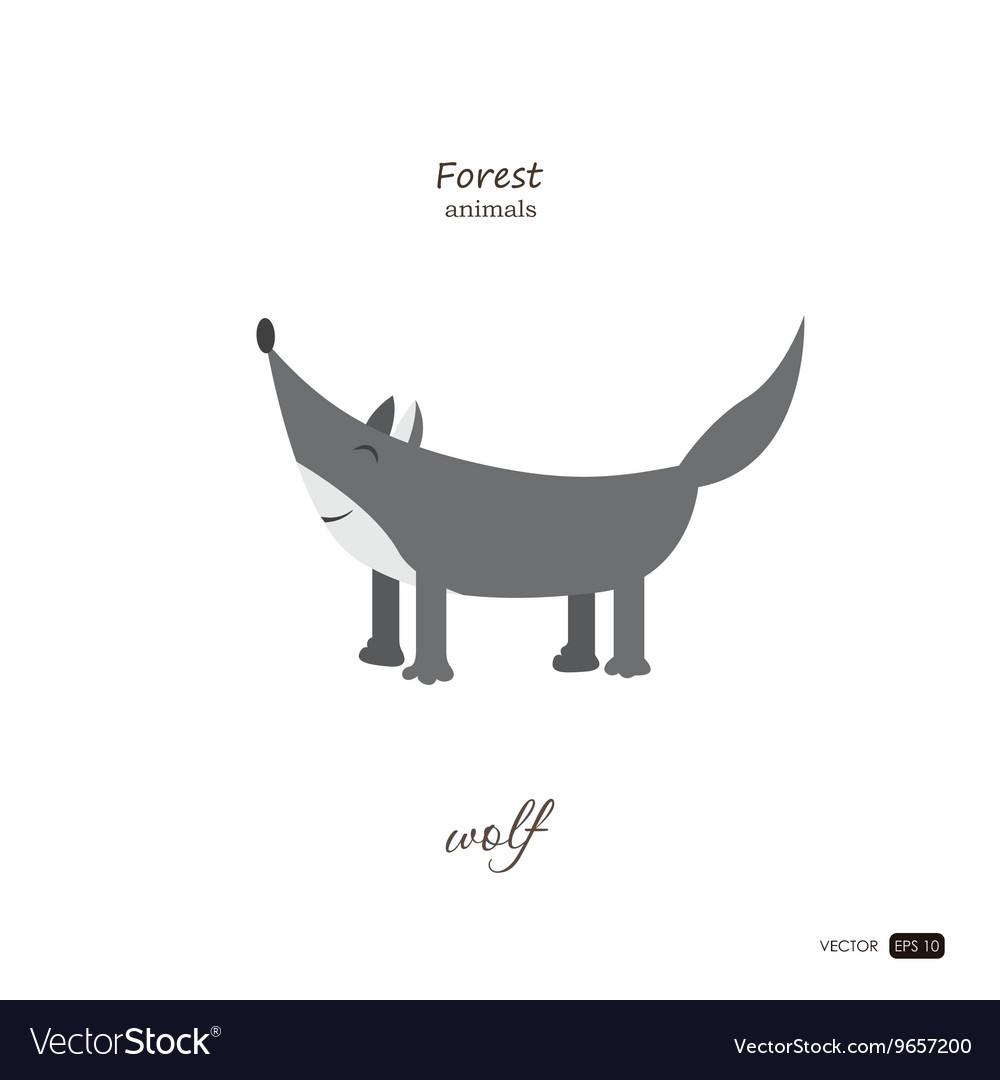 Wolf in cartoon style on white background vector image