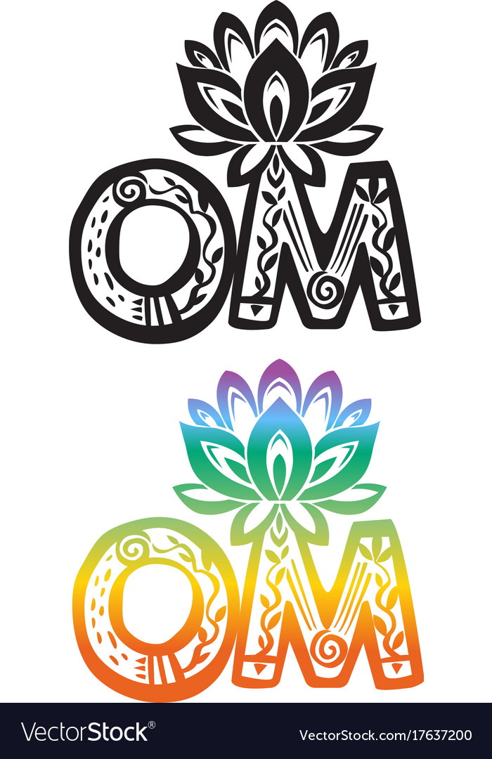 Word Om With Lotus Flower Silhouette Royalty Free Vector