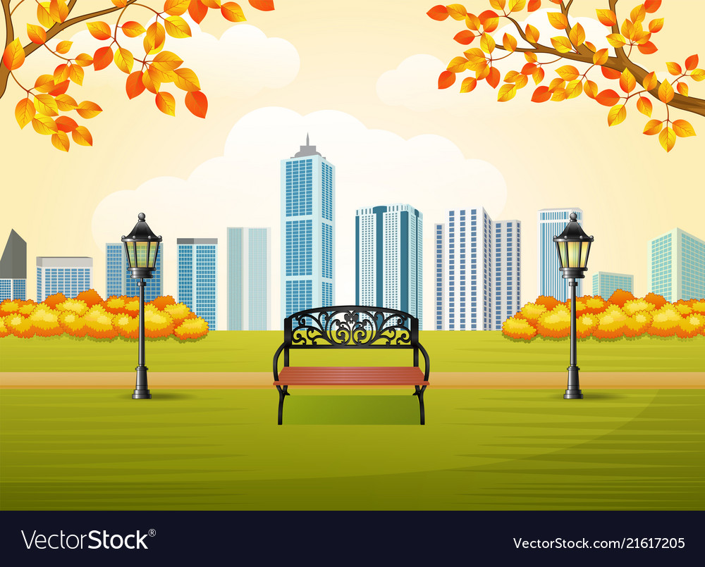 Beautiful autumn city park with town building back