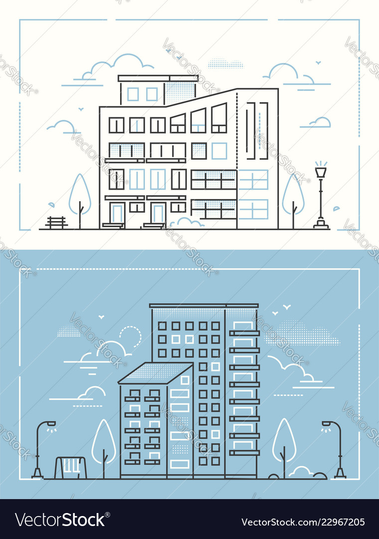 City buildings - set of thin line design style