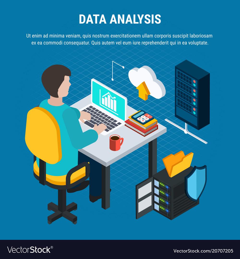 Data analysis isometric background