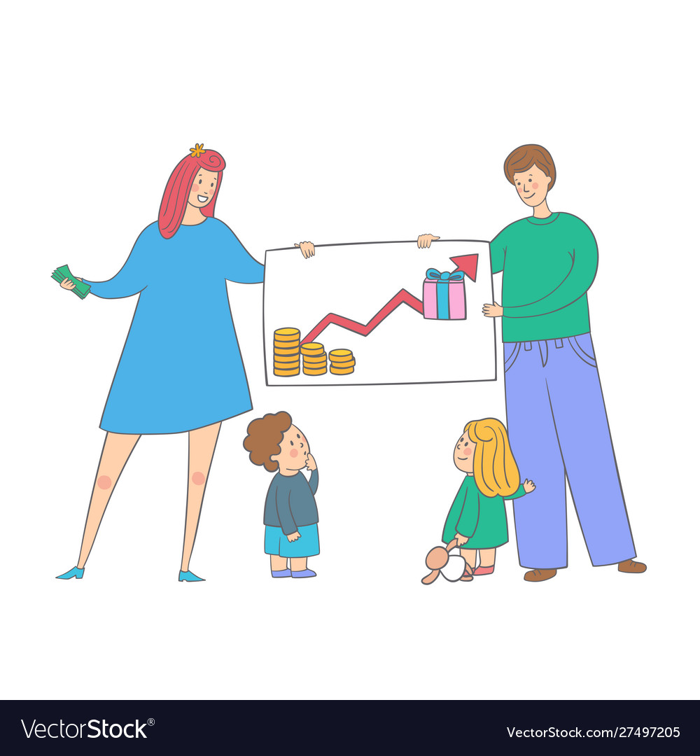 Family with kids saves money parents teaching