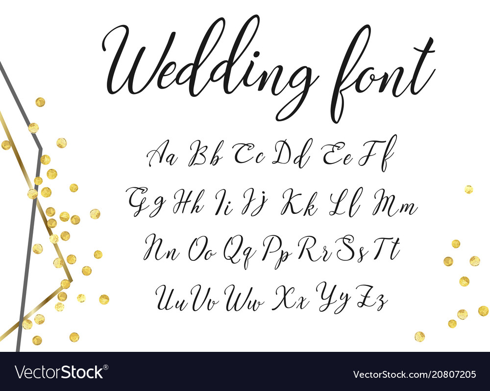 Gold wedding font vector image