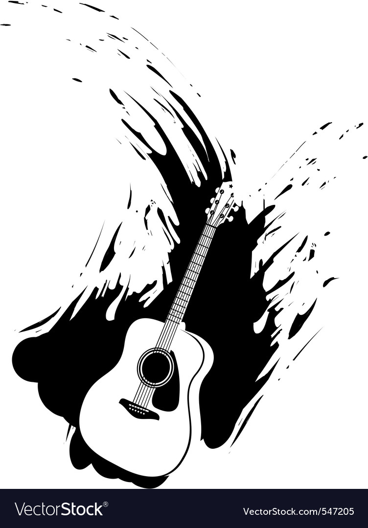 Grunge guitar paint splash vector image