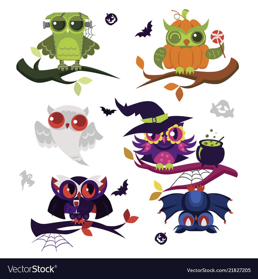 Halloween owls flat set