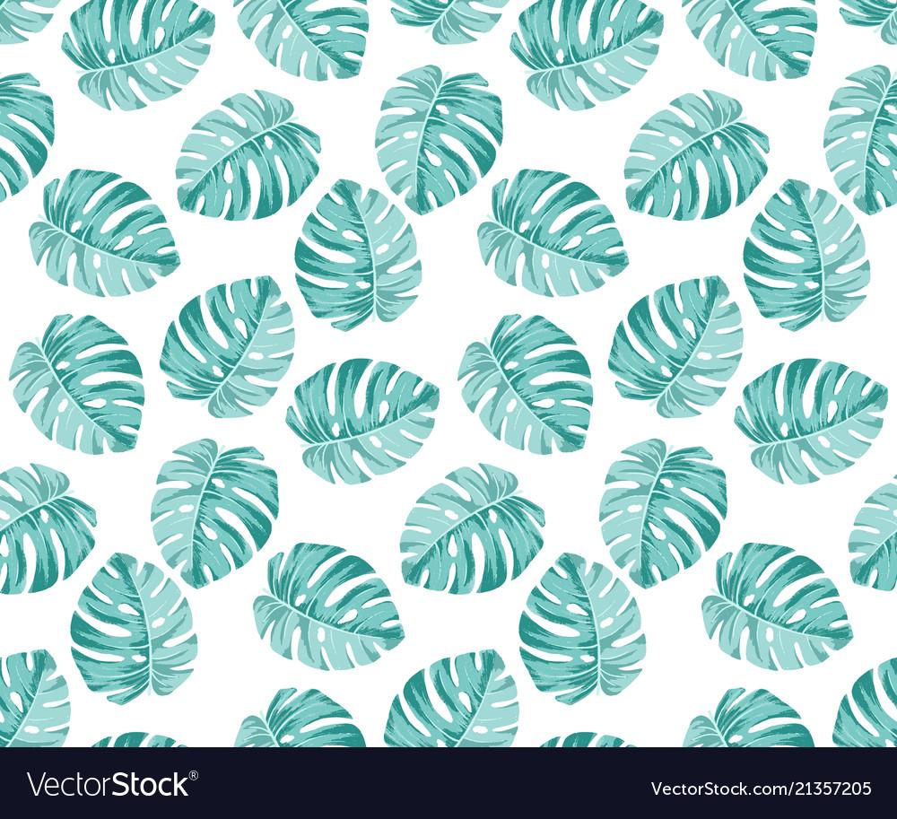 Monstera blue pattern