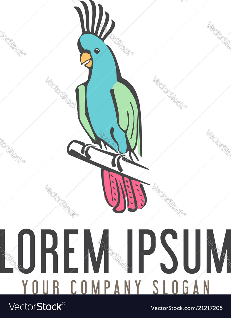 Parrot bird logo hand drawn design concept