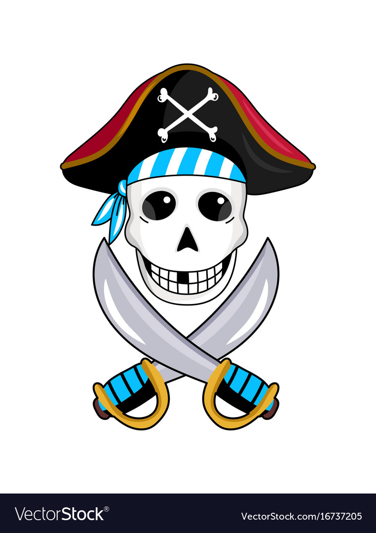 Pirate sign with skull and crossed swords