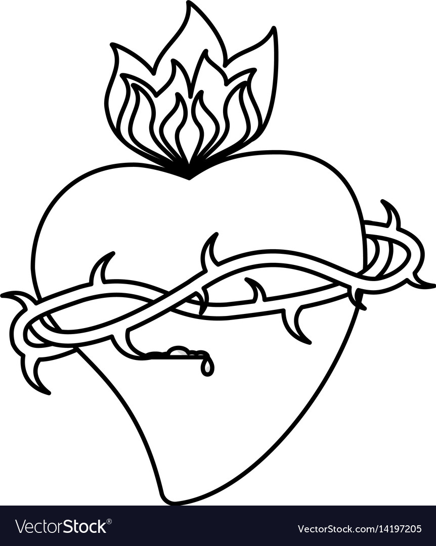 Sacred heart crown flame outline vector image