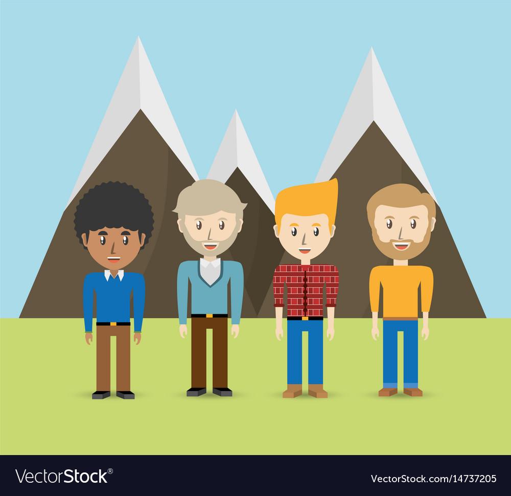 Set avatars men of different diversity over