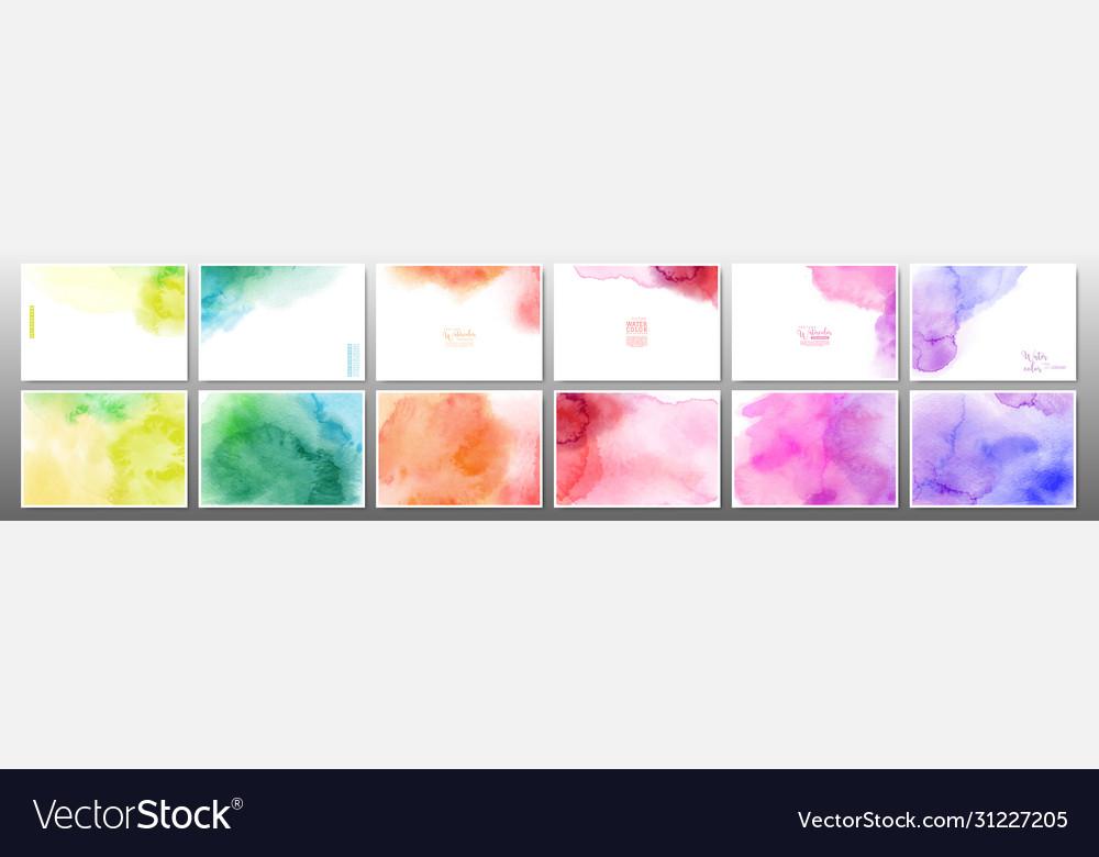 Set rainbow watercolor background