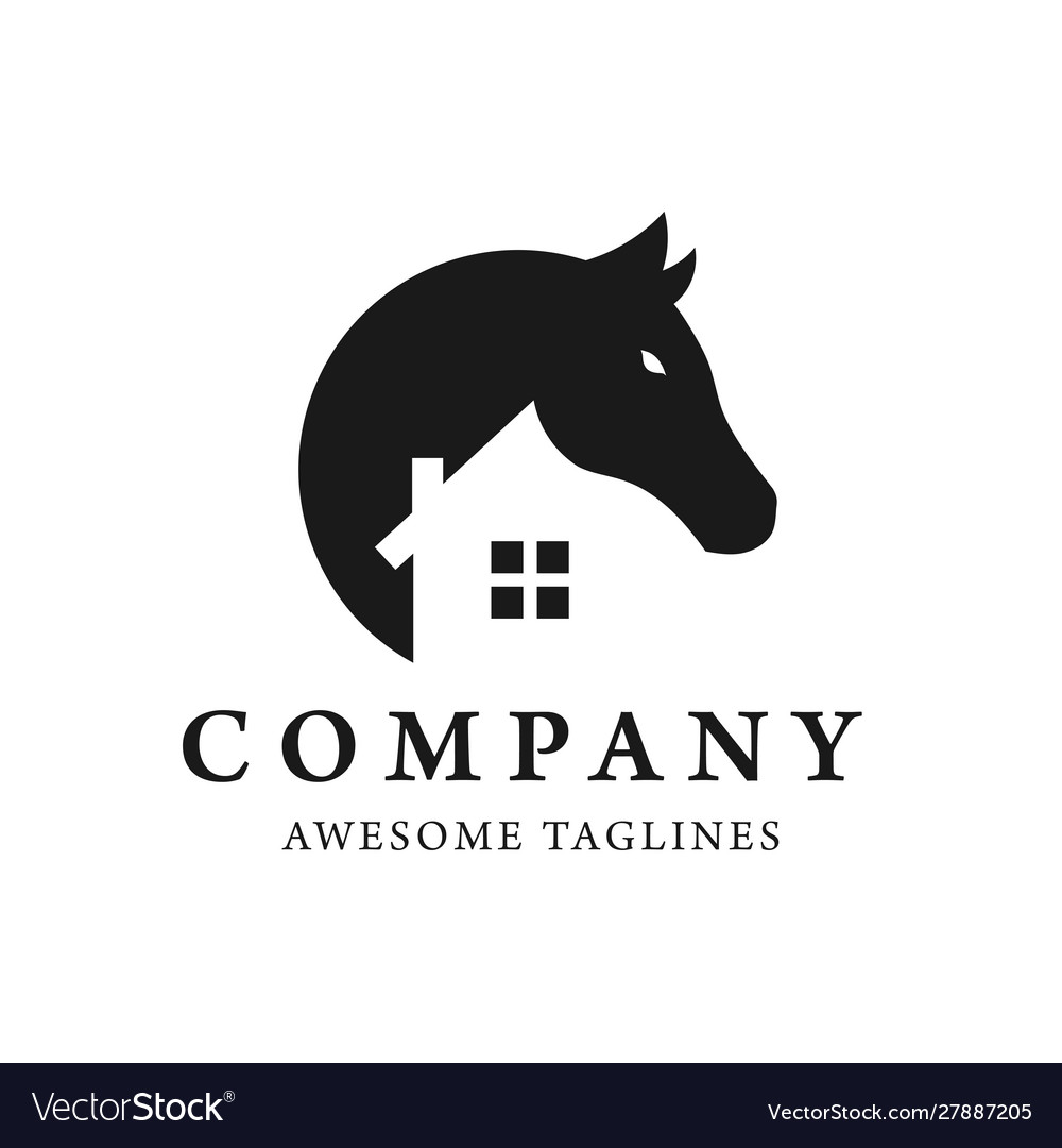 Simple Horse And House Logo Design Royalty Free Vector Image