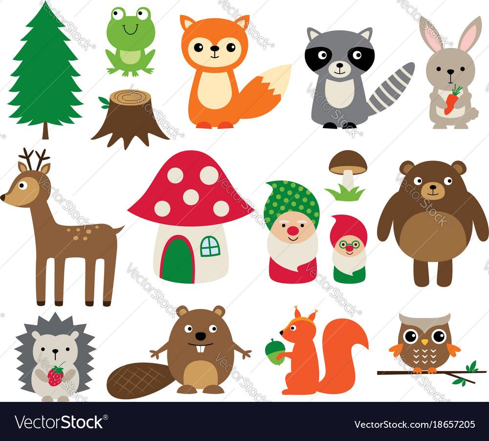 Woodland animals isolated set vector image