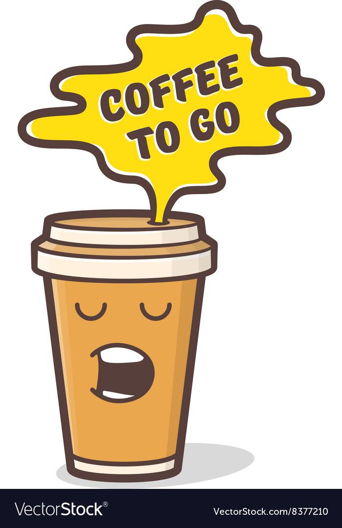Cartoon comic coffee cup
