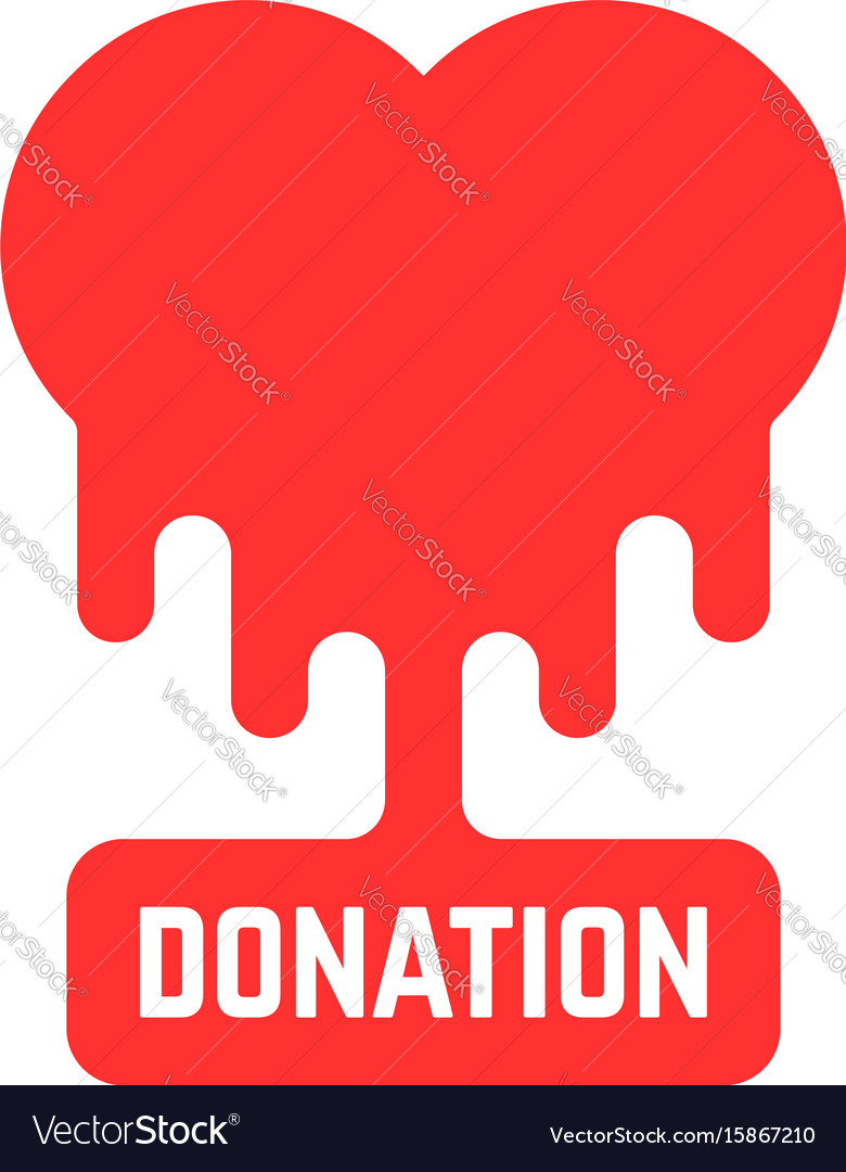 Donation icon with bleeding heart