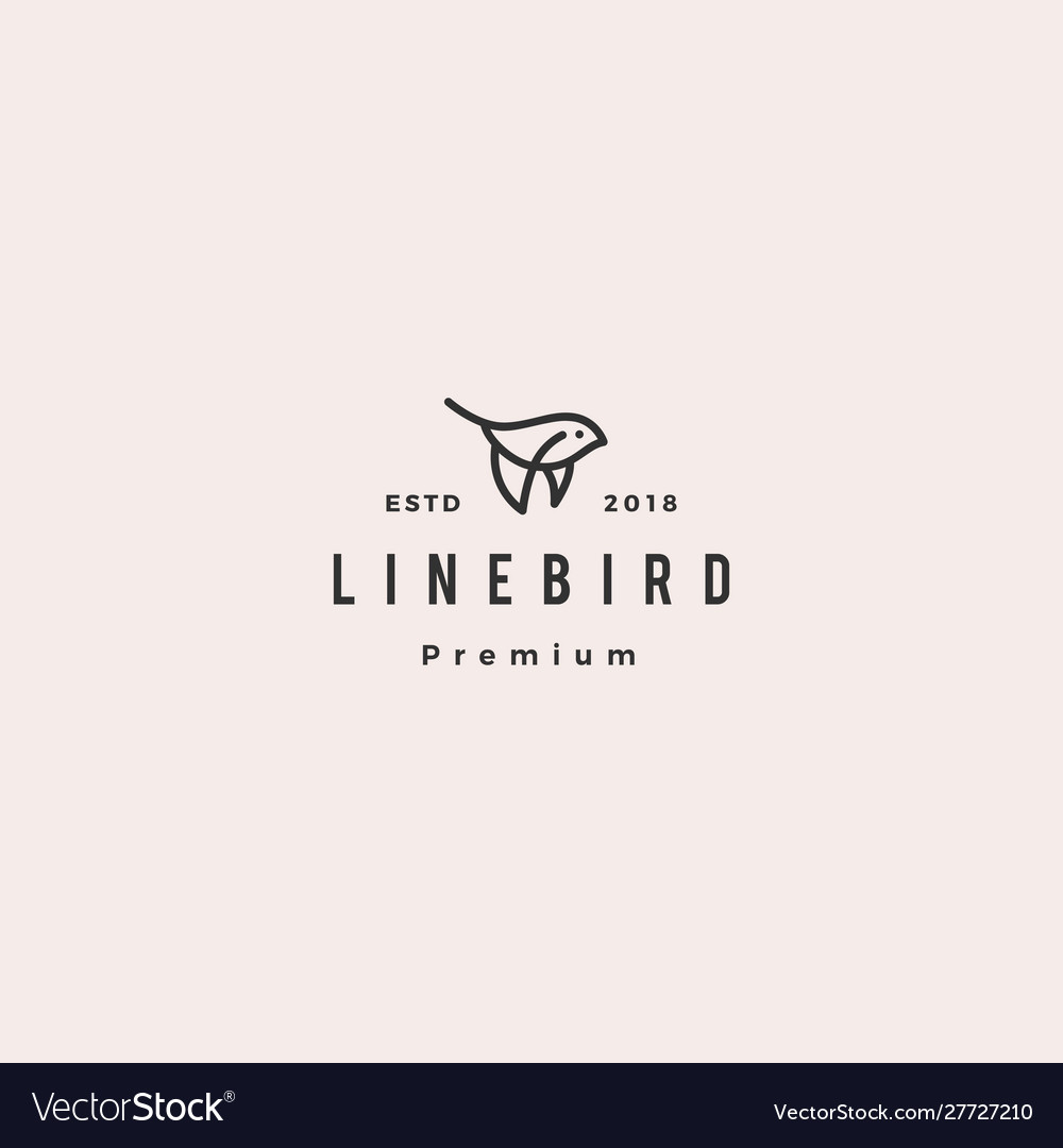 Flying bird logo hipster retro vintage icon line