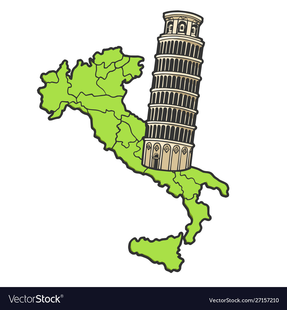 Italy map and leaning tower pisa sketch