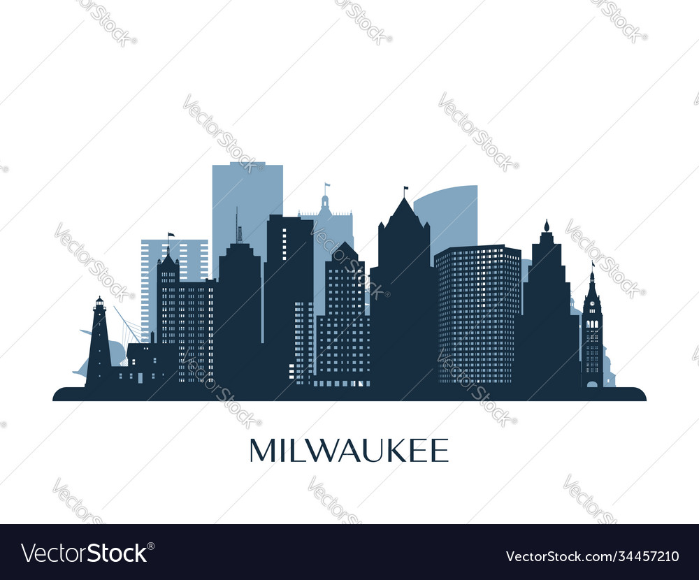 Milwaukee skyline monochrome silhouette