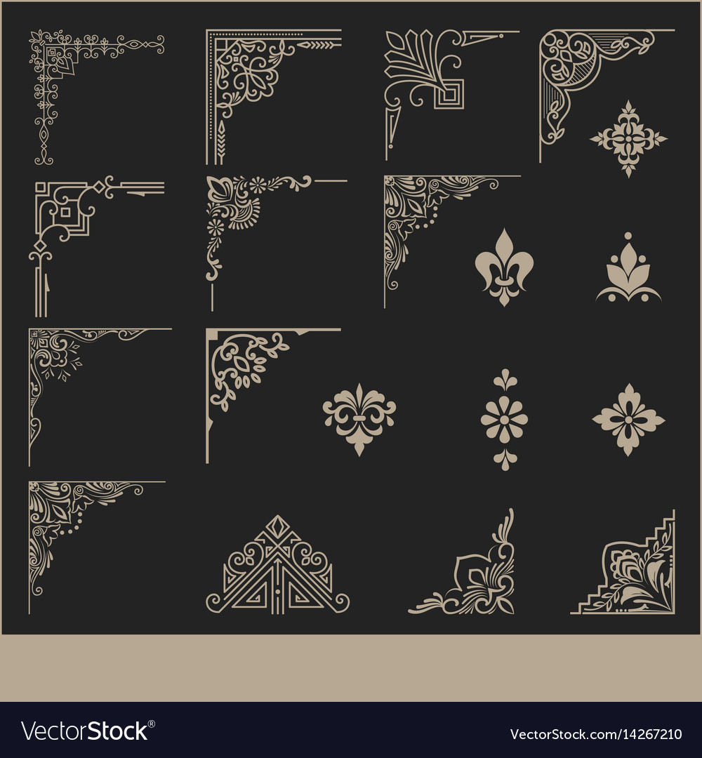 Set of calligraphic and page decoration corner vector image