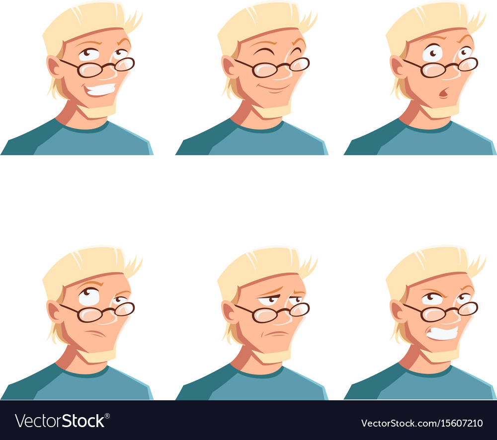 Set of man face icons