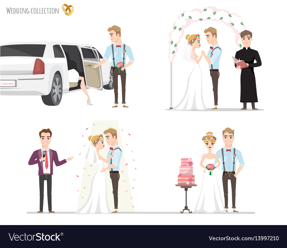 Set of wedding pictures bride and groom in love vector image