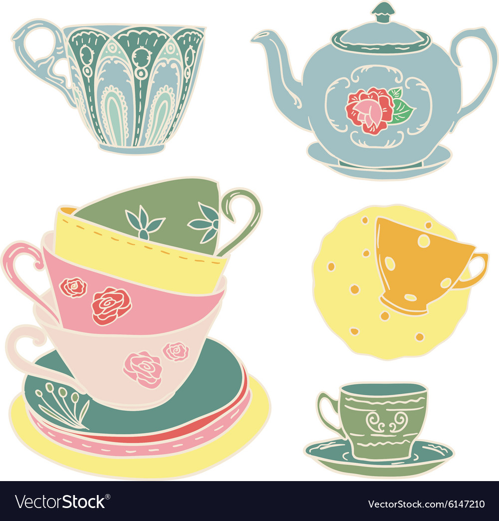 Set with teapots and teacups