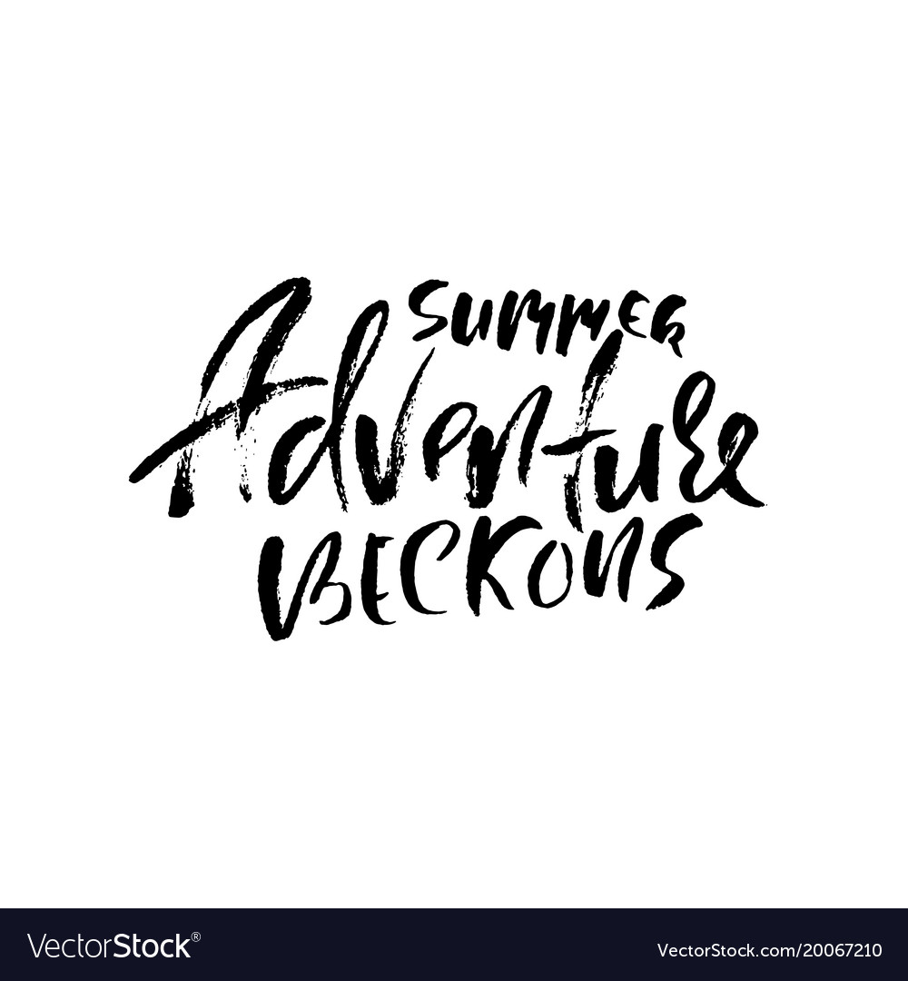 Summer adventure beckons typography poster vector image