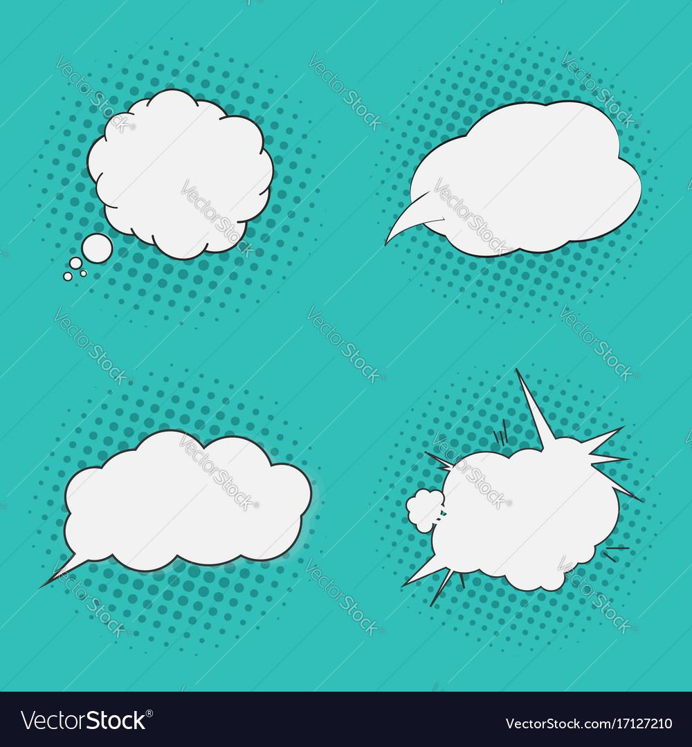 Thoughts bubbles set pop art comics style