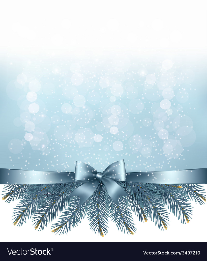 Winter snow and blue ribbon background