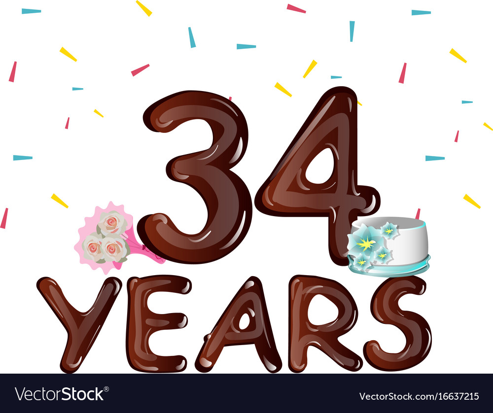 34 years anniversary celebration greeting card vector image m4hsunfo