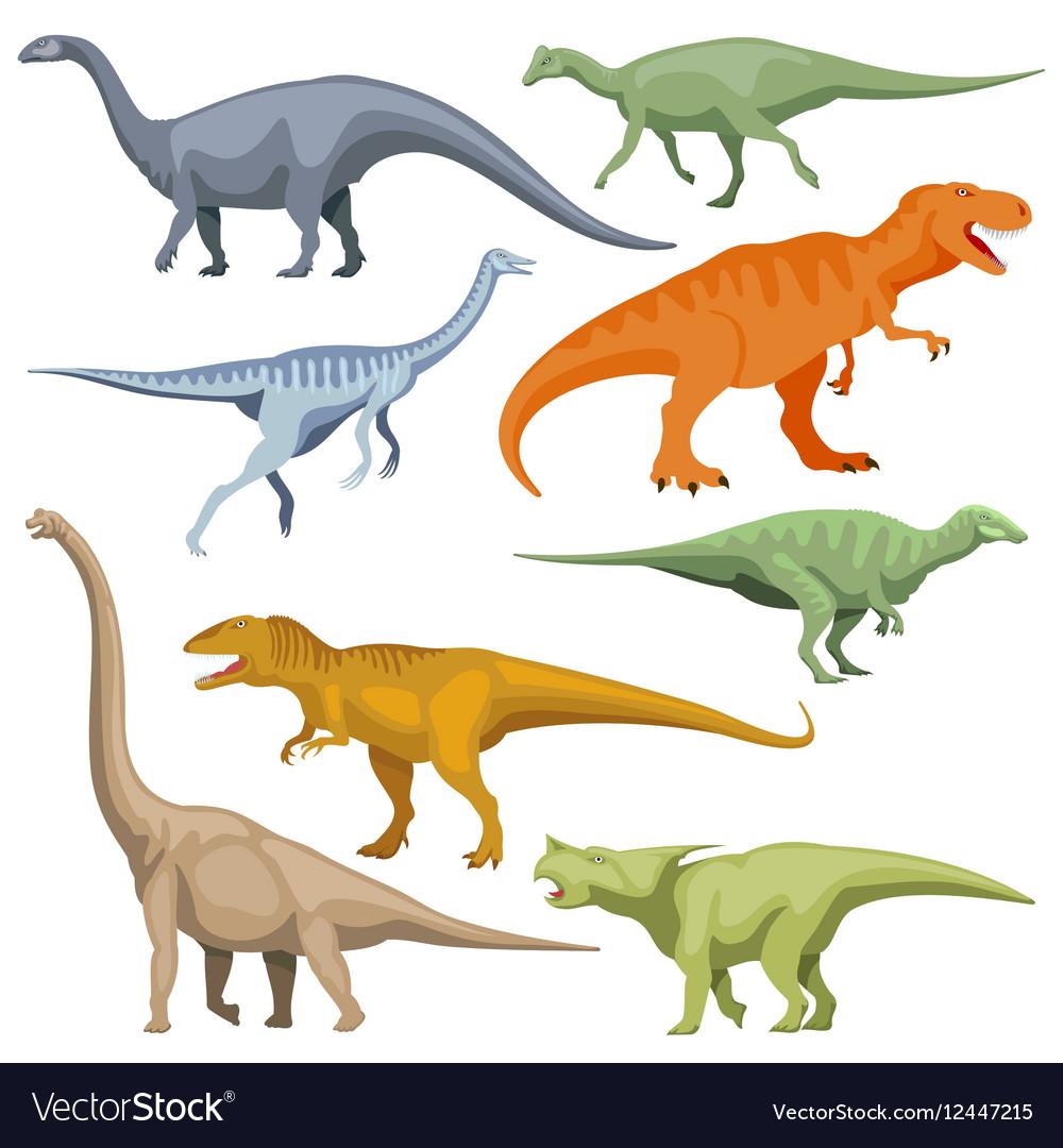 Cartoon dinosaurus reptiles set vector image
