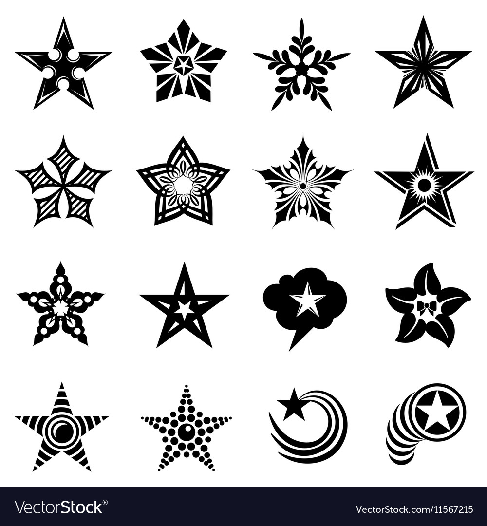 Decorative stars icons set simple style