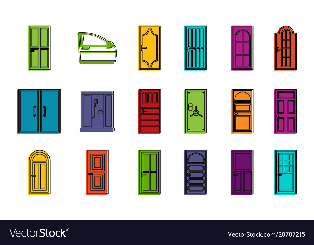 Door icon set color outline style