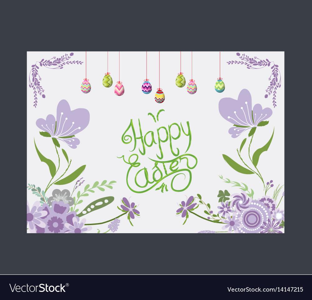 Happy easter eggs greeting card flower purple vector image