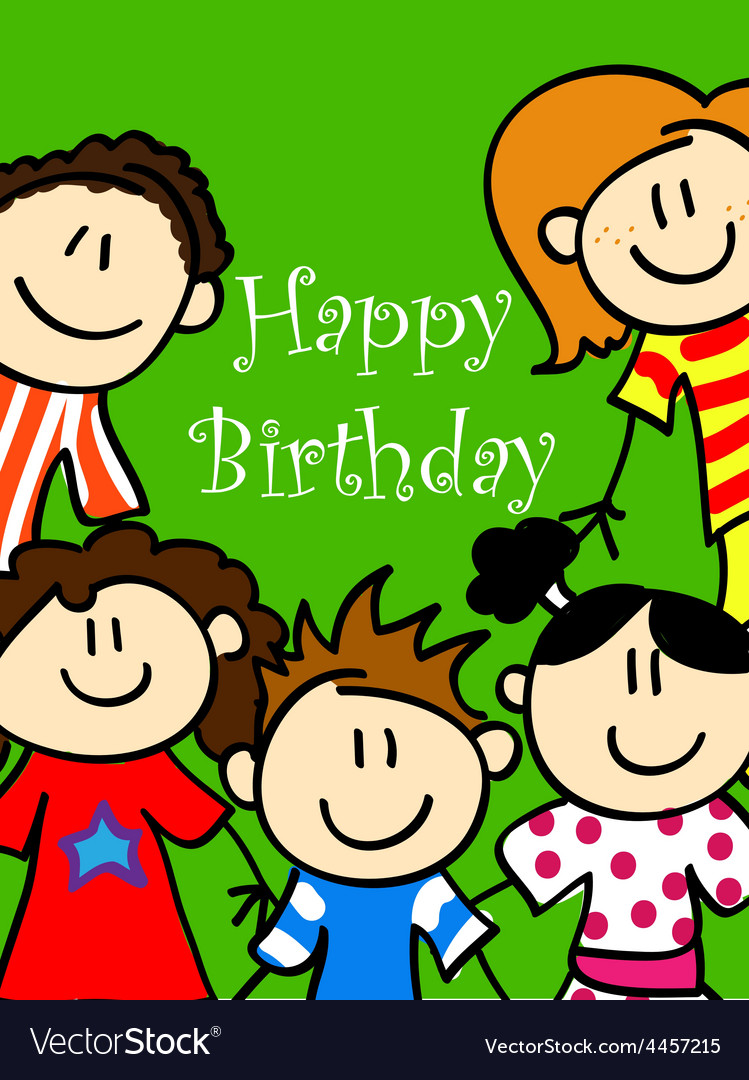 Kids birthday card 2 vector image