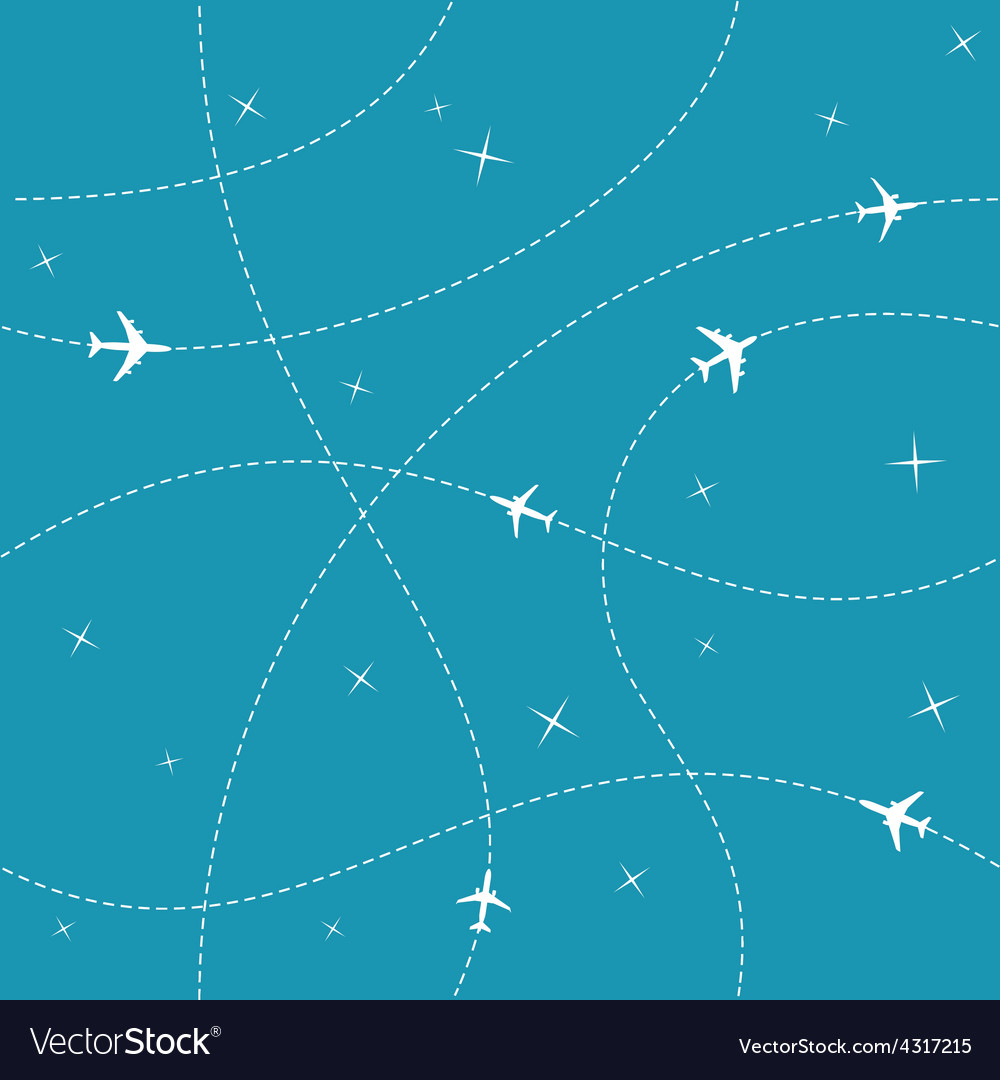 Planes with trajectories and stars on the blue sky