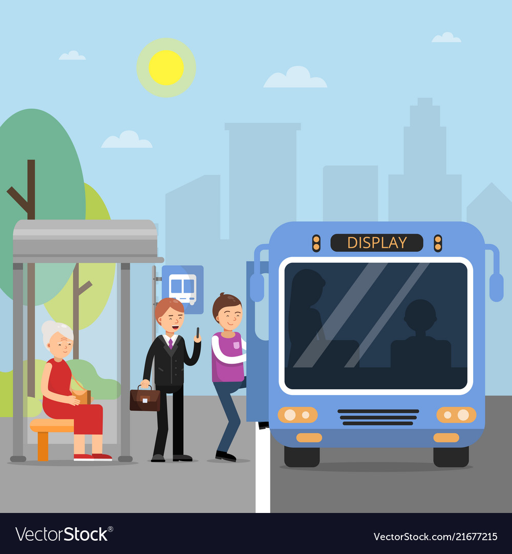 Public autobus station with passengers wich sit in