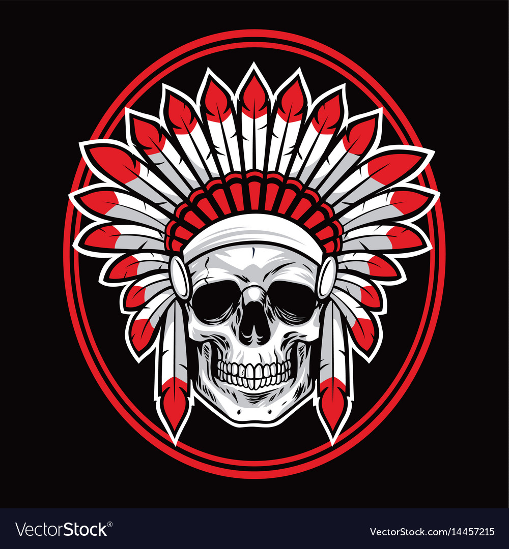 skull of indian native american warrior red vector image