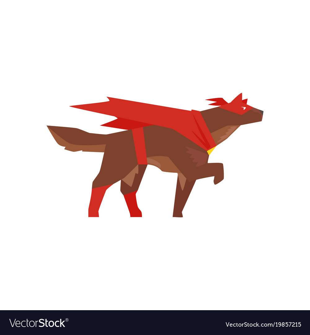 Superhero dog character super dog dressed in red
