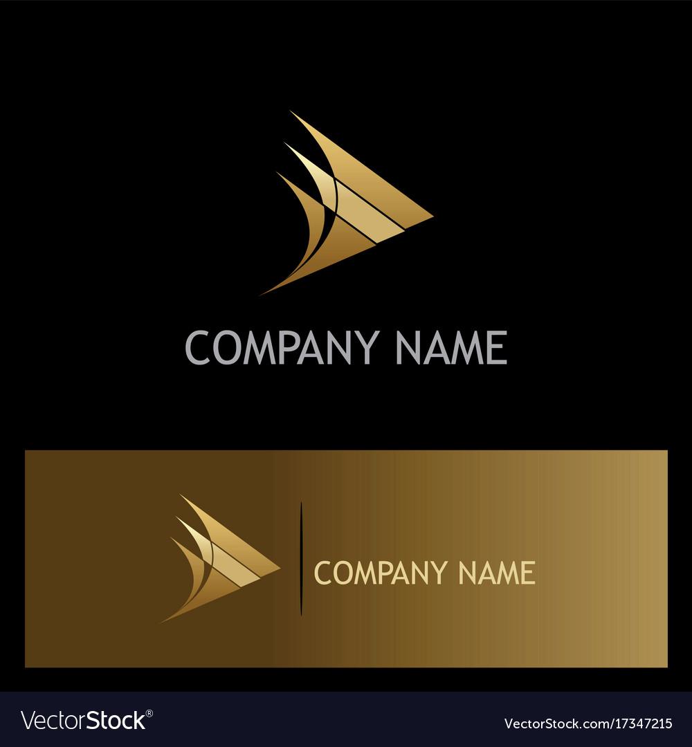 Triangle arrow curve gold company logo