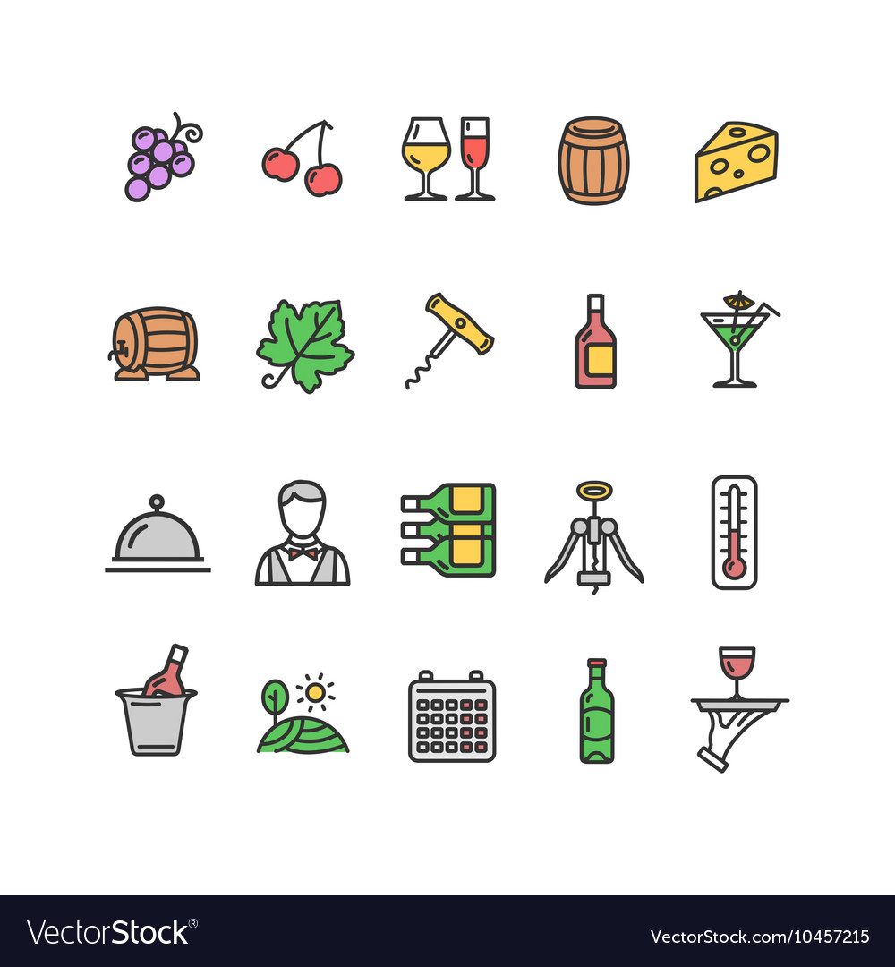 Wine making drink icon set vector
