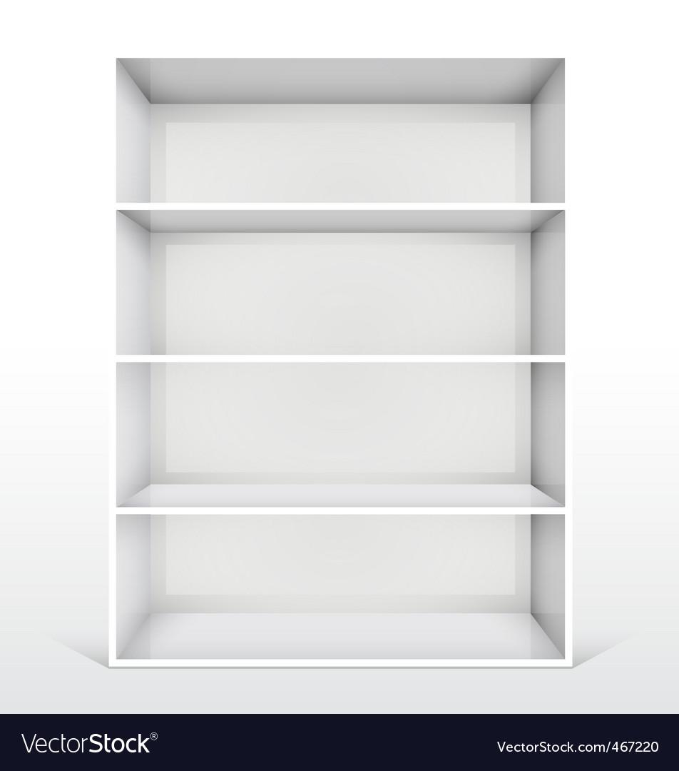Isolated Empty White Bookshelf Vector Image