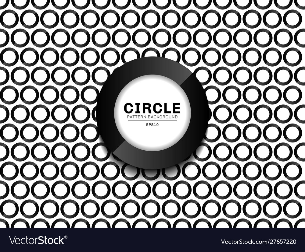 Black border circles pattern seamless on white vector