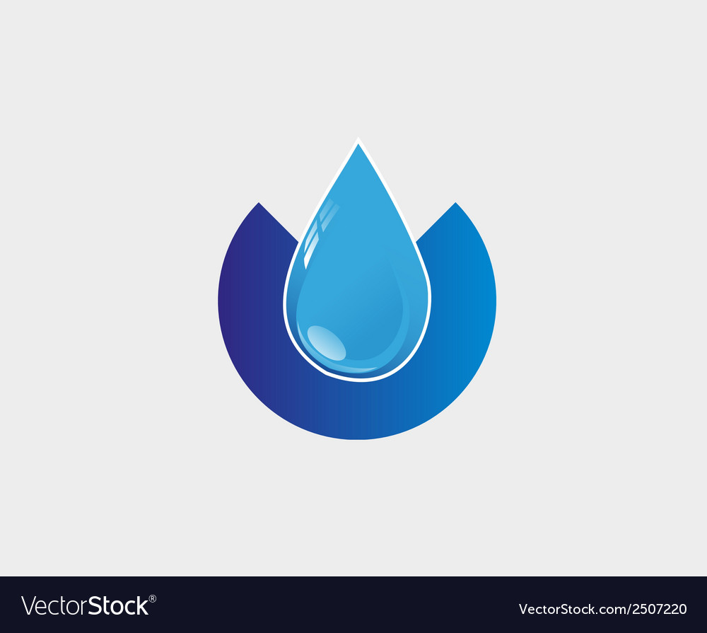 Blue Water drop icon abstract logo template